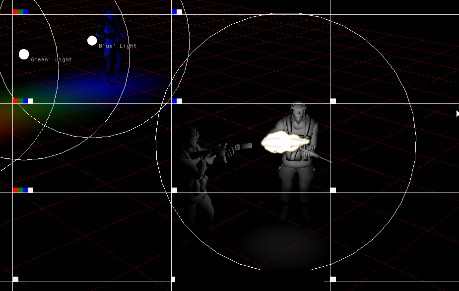 Experimenting with deferred tile-based lighting. With an animated point-light attached to a muzzle :)